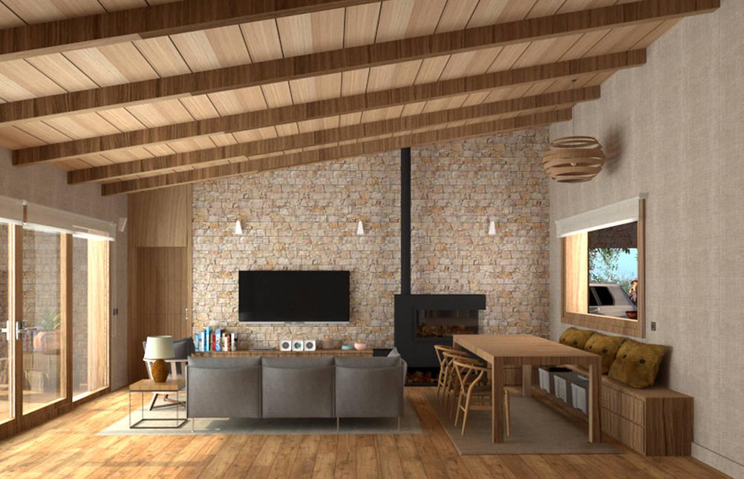 El salón ideal Salones de estilo mediterráneo de arQmonia estudio, Arquitectos de interior, Asturias Mediterráneo