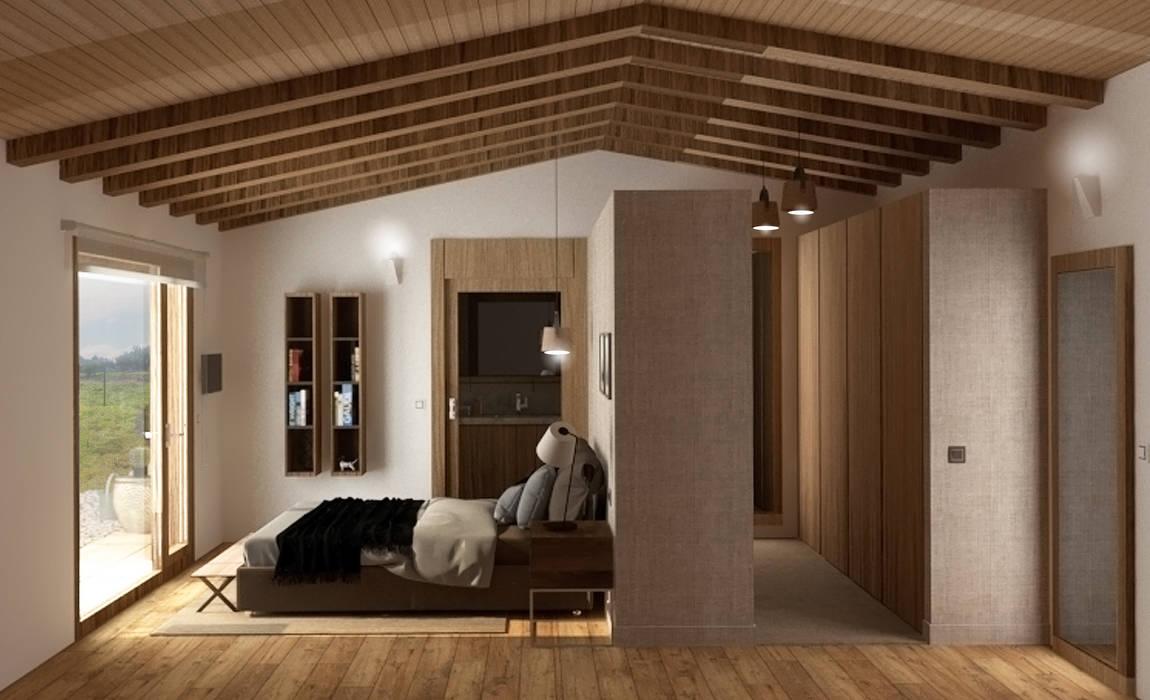 Acceso por el vestidor: Dormitorios de estilo  de arQmonia estudio, Arquitectos de interior, Asturias, Mediterráneo