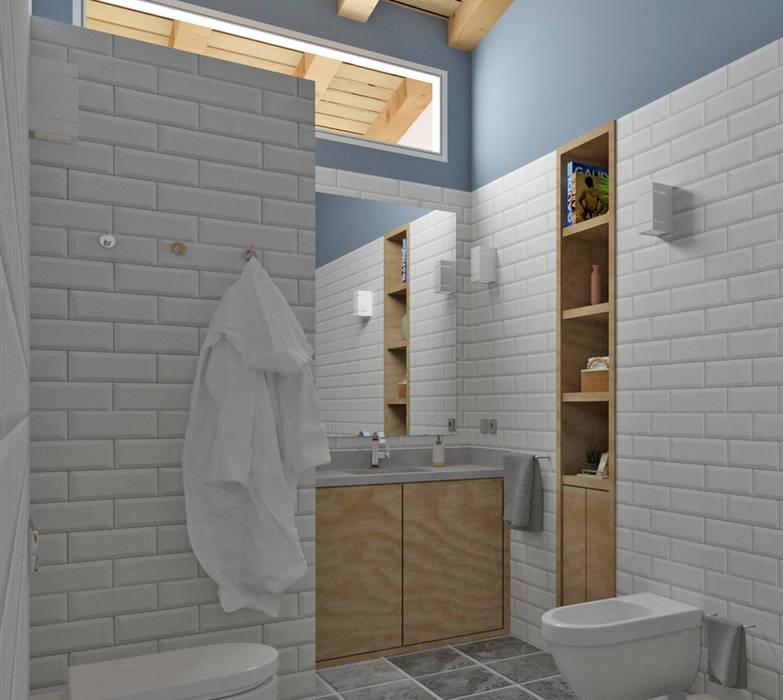 Baño decorado con cerámica y pintura: Baños de estilo  de arQmonia estudio, Arquitectos de interior, Asturias, Mediterráneo