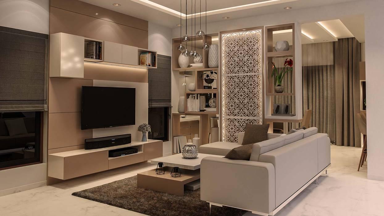 :  Living room by De Panache  - Interior Architects,Modern