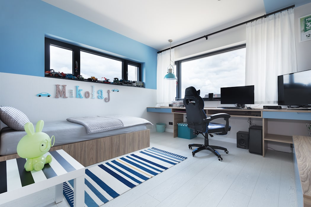 Dormitorios de bebé de estilo  por EWEM Aranżacja wnętrz Edyta Wełnicka, Moderno Madera Acabado en madera