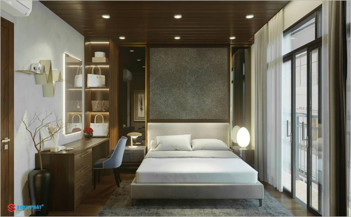 Dự án thiết kế nội thất nhà phố cao cấp với gỗ tự nhiên Công ty TNHH TK XD Song Phát BedroomBeds & headboards Lụa White