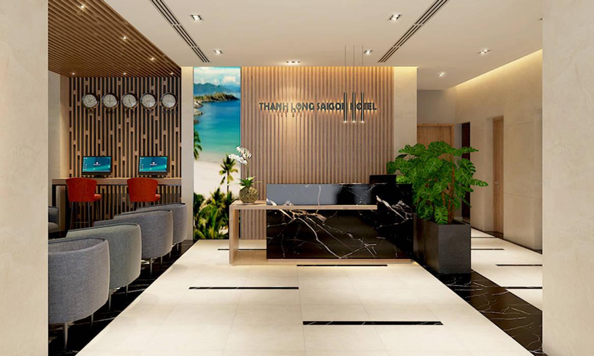 Thiết kế sảnh Lễ tân khách sạn Thành Long thiết kế khách sạn hiện đại CEEB Phòng khách