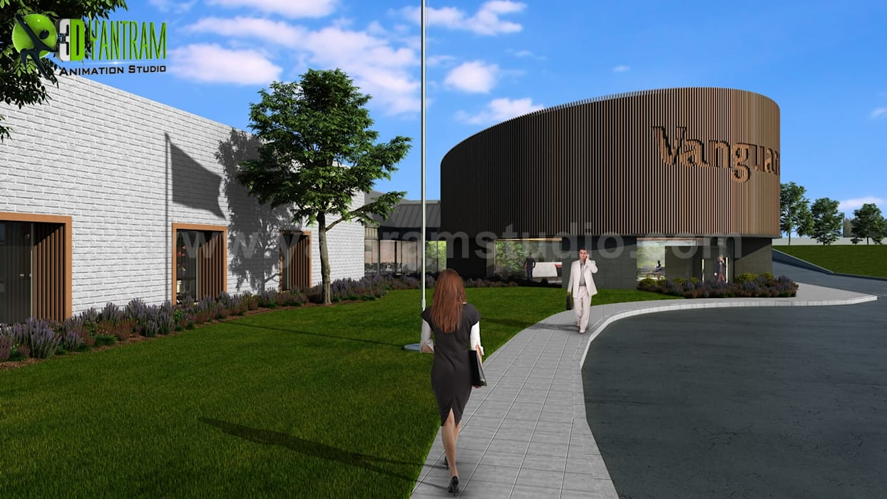 Exterior Walkthrough Large Office Design Ideas by Architectural Animation Services by Yantram Architectural Design Studio Classic