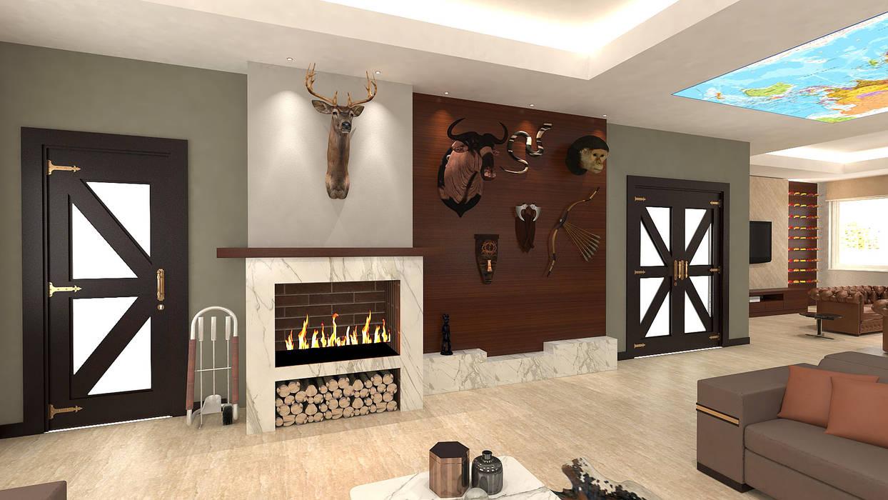 KALYA İÇ MİMARLIK – Yönetici Ofisi - Şömine Duvarı:  tarz Ofis Alanları,