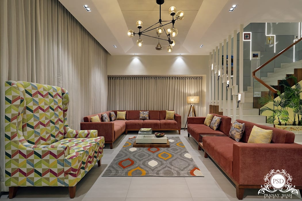 Living Room:  Living room by Pranay Shah Designs,Modern