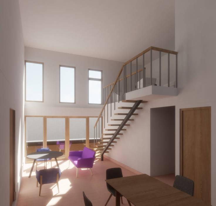 Vista interior desde acceso: Livings de estilo  por Contreras Arquitecto, Minimalista