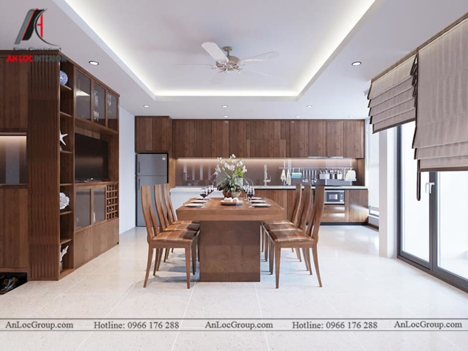 Interior design template beautiful apartment with natural wood by Nội Thất An Lộc Modern