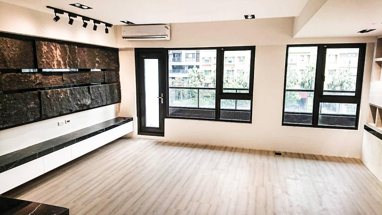 客廳與書房:  客廳 by 大吉利室內裝修設計工程有限公司, 現代風 大理石