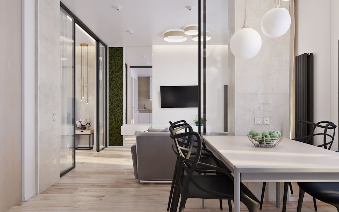 Дизайн интерьера маленькой квартиры: Кухни в . Автор – 'Академия Пространства' бюро архитектуры и дизайна, Минимализм