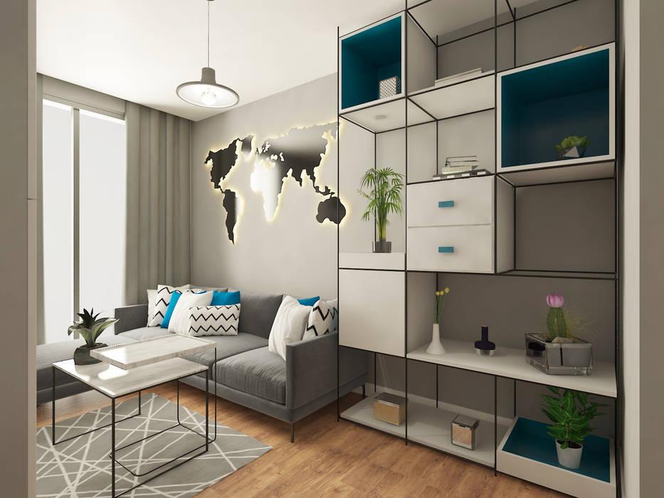 Haos Design & Architecture – Daire Projesi, Oturma Odası Tasarımı:  tarz Oturma Odası,