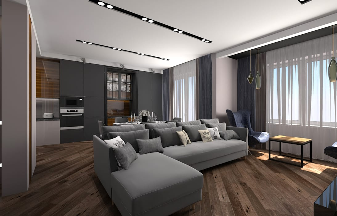 Living room by Дизайн студия 'Чехова и Компания', Industrial Concrete