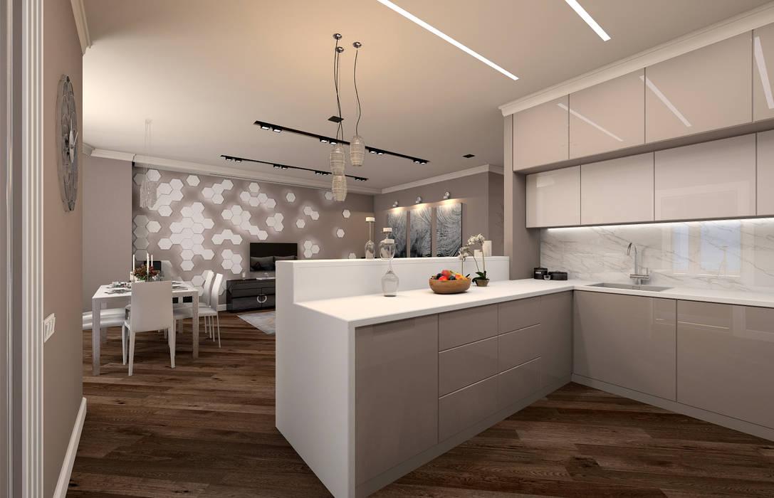 Белые ночи: Кухни в . Автор – Дизайн студия 'Чехова и Компания', Эклектичный МДФ