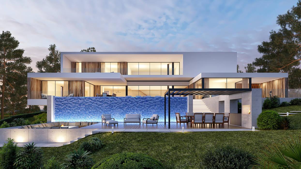 CASA CC1- Moradia na Quinta do Peru - Projeto de Arquitetura: Habitações multifamiliares  por Traçado Regulador. Lda,Moderno Madeira Acabamento em madeira
