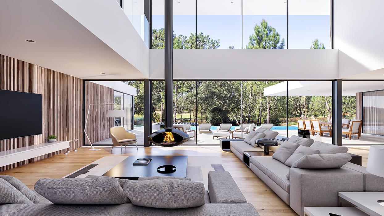 CASA CC1- Moradia na Quinta do Peru - Projeto de Arquitetura Salas de estar modernas por Traçado Regulador. Lda Moderno Madeira Acabamento em madeira