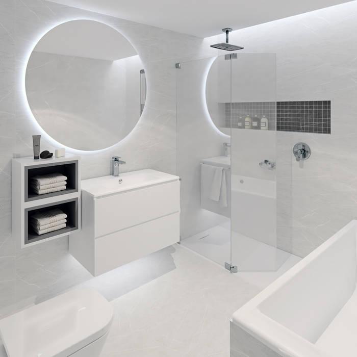 Baño principal minimalista: Baños de estilo  de Tono Lledó Estudio de Interiorismo en Alicante , Minimalista Mármol