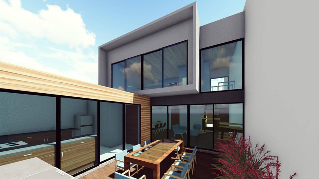 Vista patio: Casas unifamiliares de estilo  por Contreras Arquitecto,