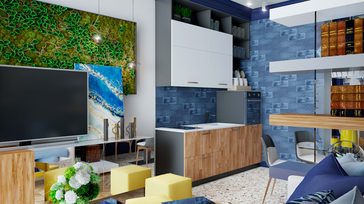 Small kitchens by Студия NATALYA SOLNTSEVA Interiors Design, Eclectic MDF