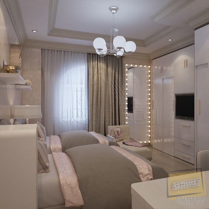 Girls Bedroom:  غرفة نوم بنات تنفيذ Archeffect,