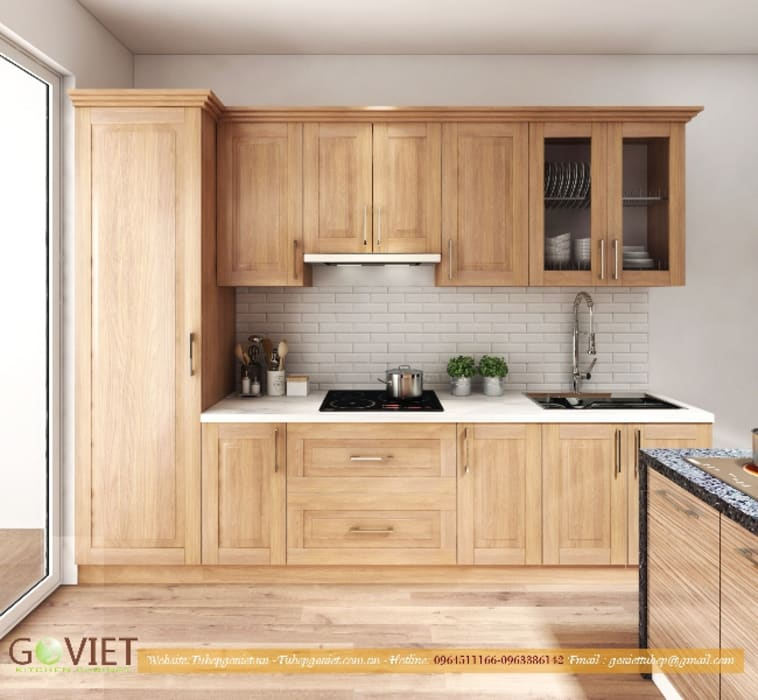 de TỦ BẾP GỖ VIỆT Moderno Madera Acabado en madera