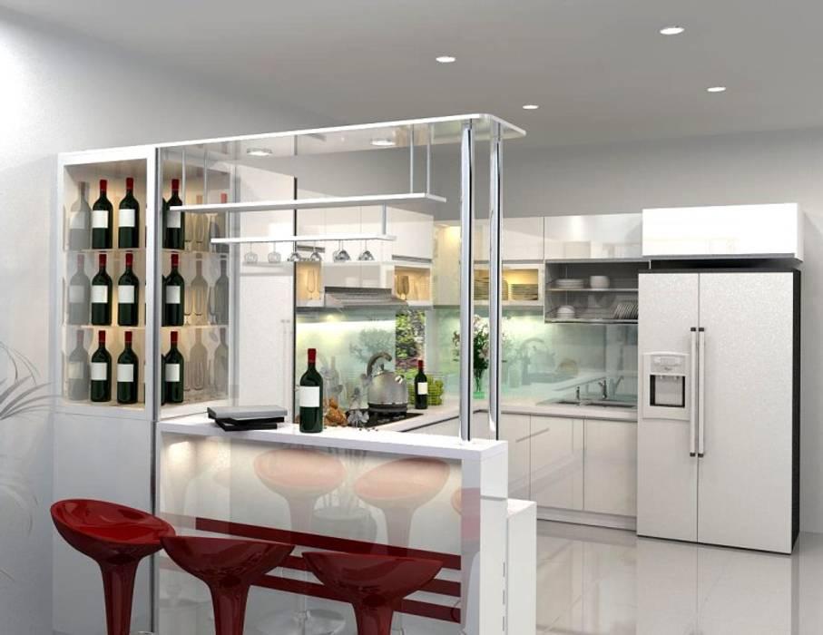 Mẫu thiết kế nhà bếp đẹp hiện đại có quầy bar :  Tủ bếp by TỦ BẾP GỖ VIỆT, Hiện đại Gỗ Wood effect