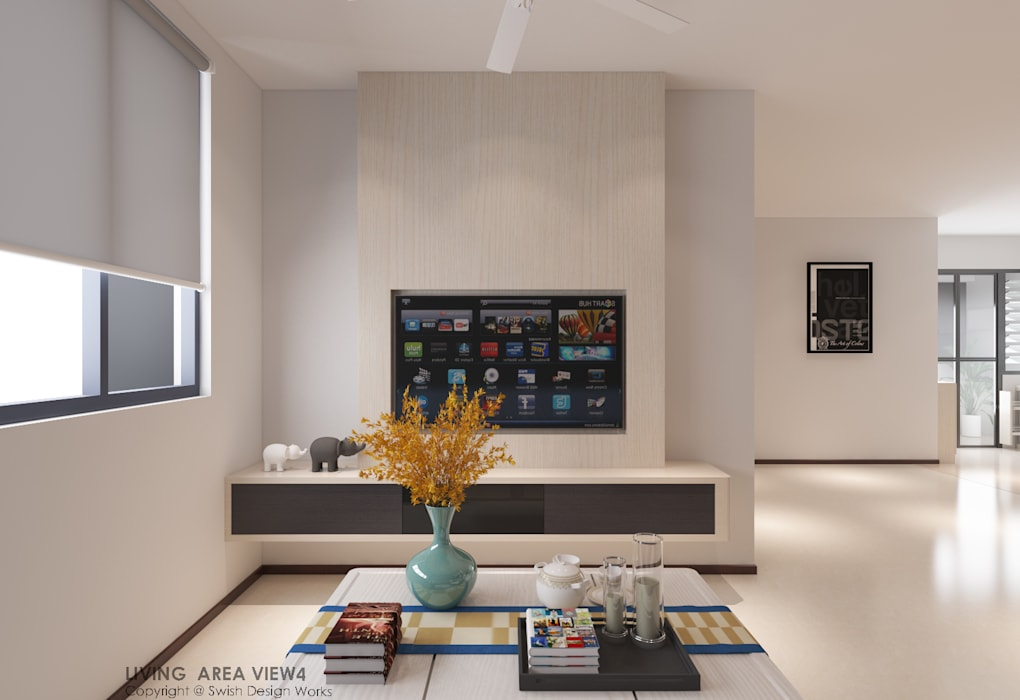 TV feature wall:  Living room by Swish Design Works,Modern