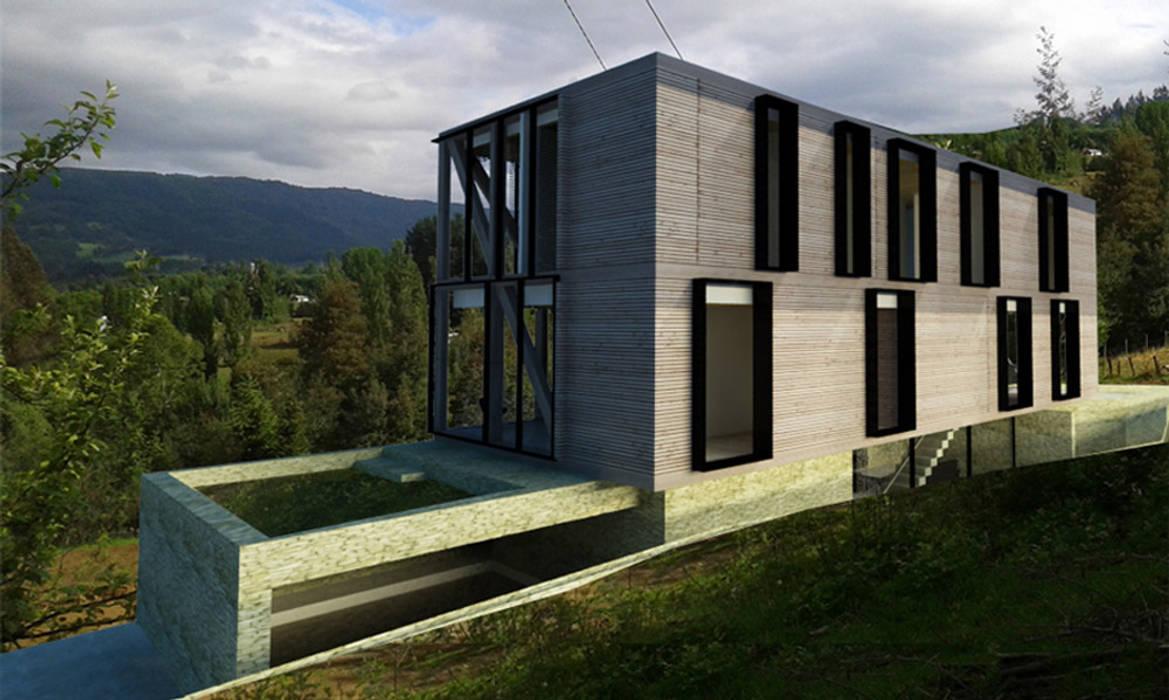 FACHADA VENTILADA: Casas de madera de estilo  por Vetas Sur,