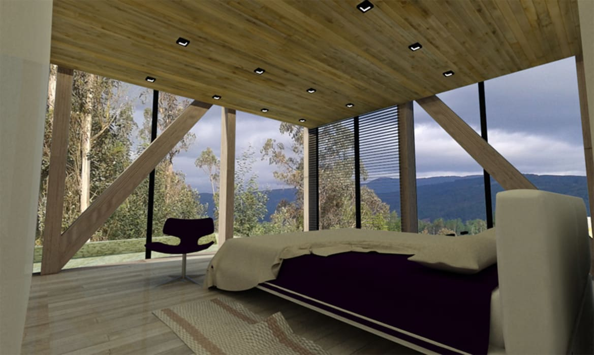 HABITACIÓN PANORÁMICA: Dormitorios pequeños de estilo  por Vetas Sur,