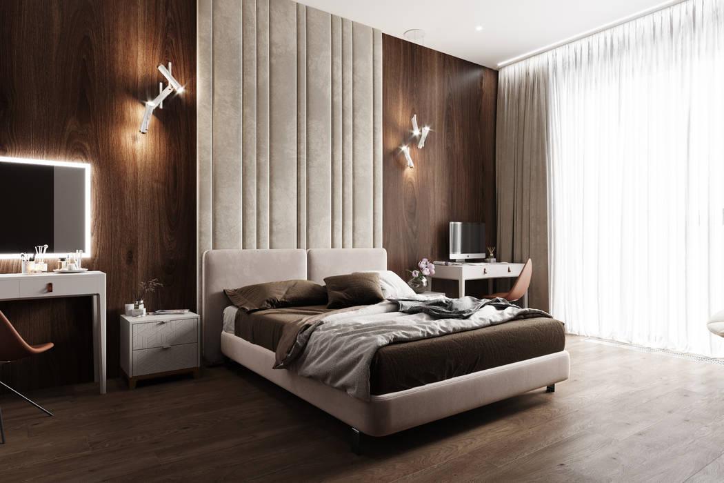 Квартира 150 кв.м. в современном стиле в ЖК Садовые кварталы. Студия архитектуры и дизайна Дарьи Ельниковой Спальня в стиле минимализм