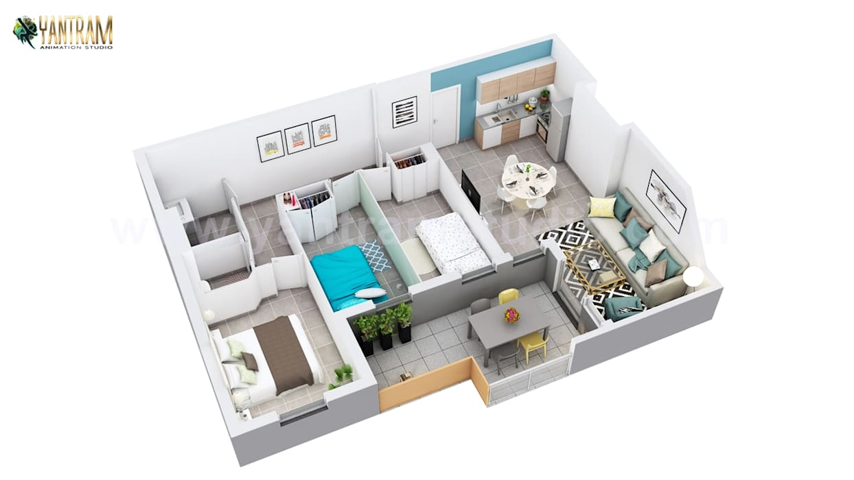 Residential Apartment Floor Plan Design Companies by 3D Animation Studio by Yantram Architectural Design Studio Classic