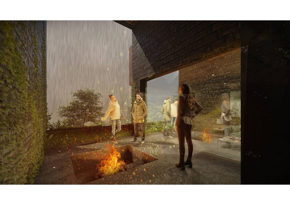 Casa CL - Interior 01: Terrazas  de estilo  por Zenobia Architecture, Moderno Madera Acabado en madera