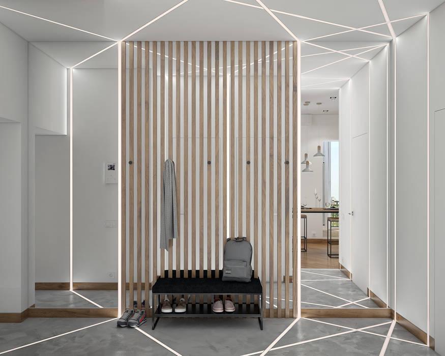 Pasillos, vestíbulos y escaleras de estilo industrial de «Студия 3.14» Industrial