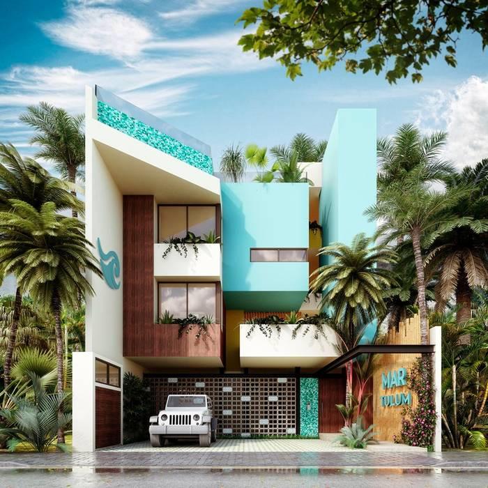 FACHADA EXTERIOR: Condominios de estilo  por I&O GROUP, Moderno Concreto