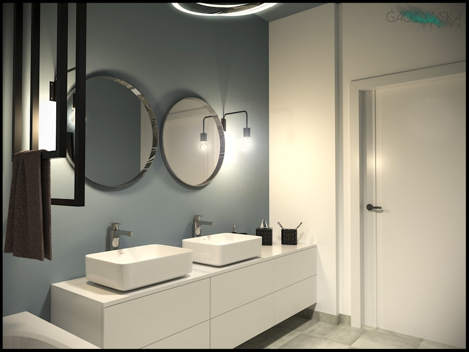 """domek """"Poprawna"""" - projekt GACKOWSKA DESIGN GACKOWSKA DESIGN Nowoczesna łazienka"""