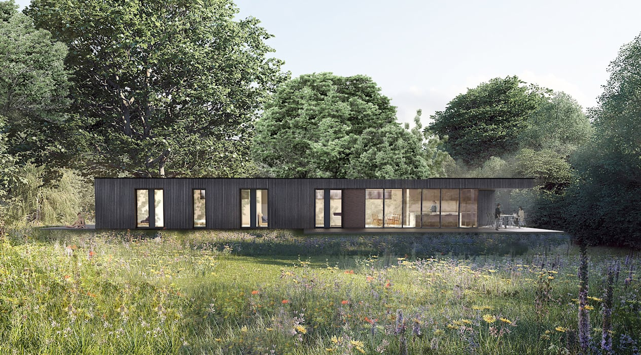 The Lodge:  Prefabricated home by Define Architects, Scandinavian Wood Wood effect