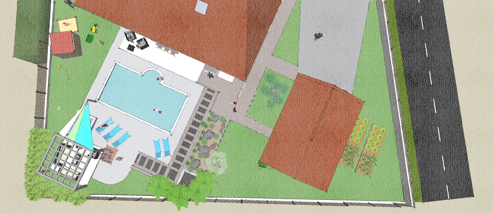 Projet Paysager Saubusse 40180. Landes. Jardin moderne par Conseils en aménagement paysagés Intérieurs/Extérieurs Moderne