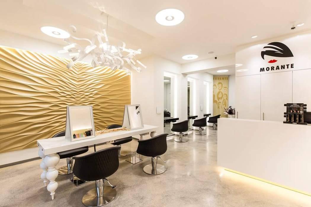Lichtplanung für Ihre Geschäftsräume: Friseur Salon Morante in Essen:  Ladenflächen von Moreno Licht mit Effekt - Lichtplaner,Ausgefallen Metall