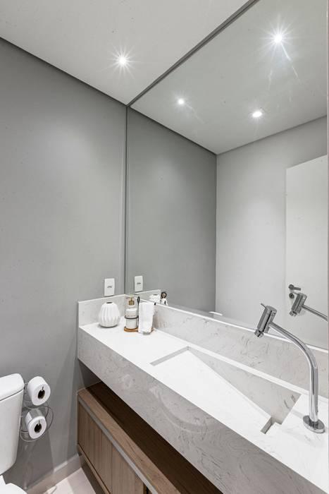 Lavabo Clean e Moderno de um Apartamento Pequeno de um Jovem Casal Banheiros modernos por Mirá Arquitetura Moderno MDF