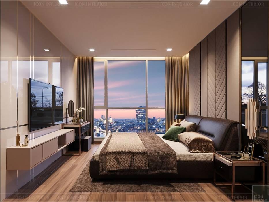 Quy luật tương phản trong thiết kế nội thất căn hộ Vinhomes Central Park Phòng ngủ phong cách hiện đại bởi ICON INTERIOR Hiện đại