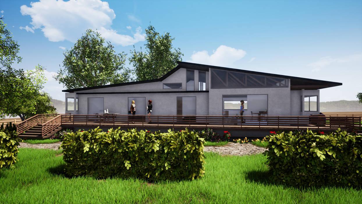 FACHADA PRINCIPAL TERRAZA - CASA COCM: Casas de campo de estilo  por CR.3D Modeling & Rendering, Rural Ladrillos
