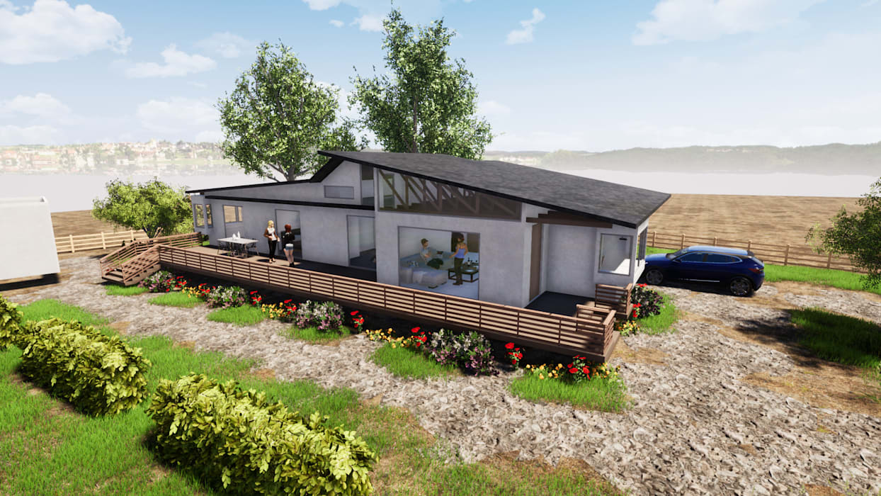 VISTA GENERAL - CASA COCM de CR.3D Modeling & Rendering Rural Ladrillos