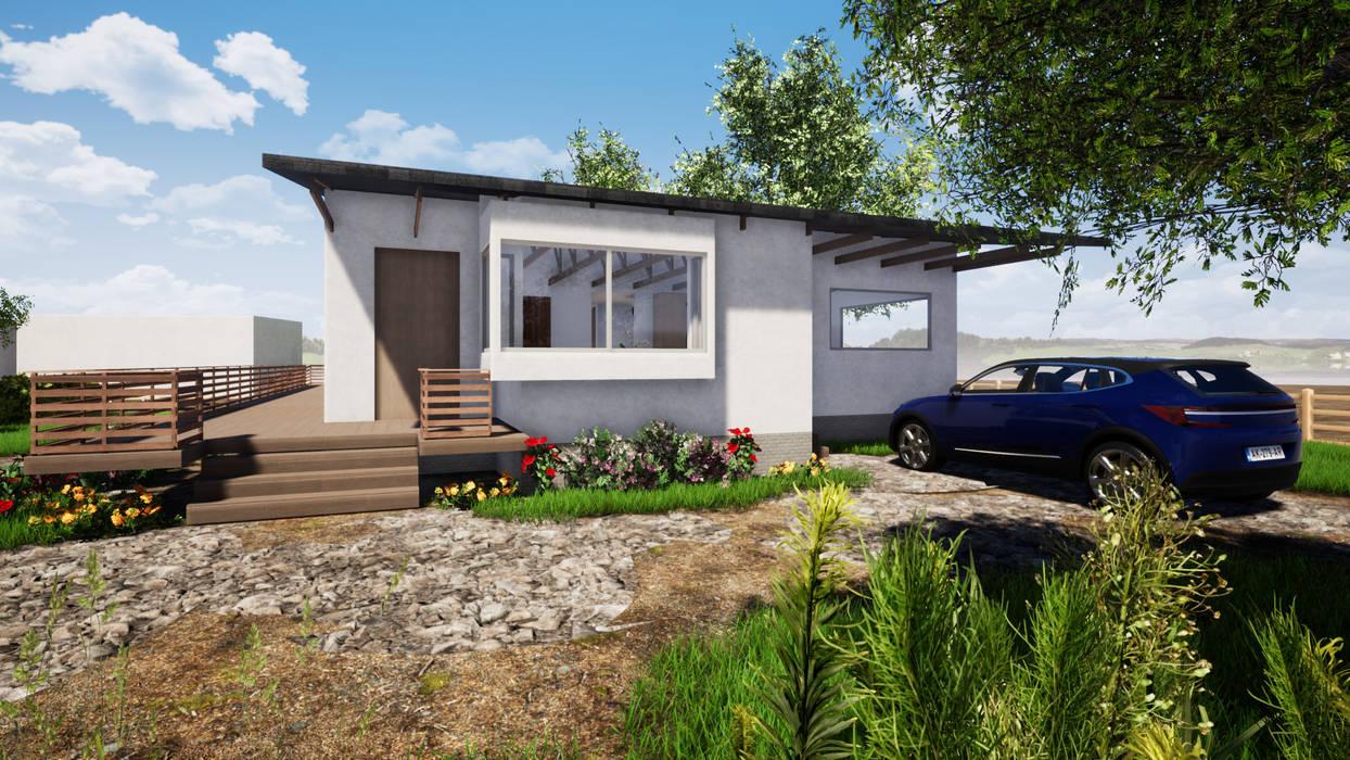 VISTA ACCESO - CASA COCM: Casas de campo de estilo  por CR.3D Modeling & Rendering,