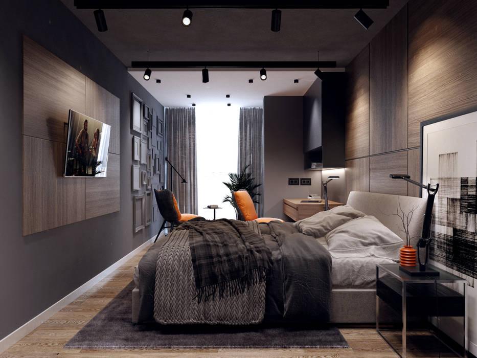 1903 - современная спальня Спальня в стиле минимализм от Творческая мастерская Твердый Знак Минимализм