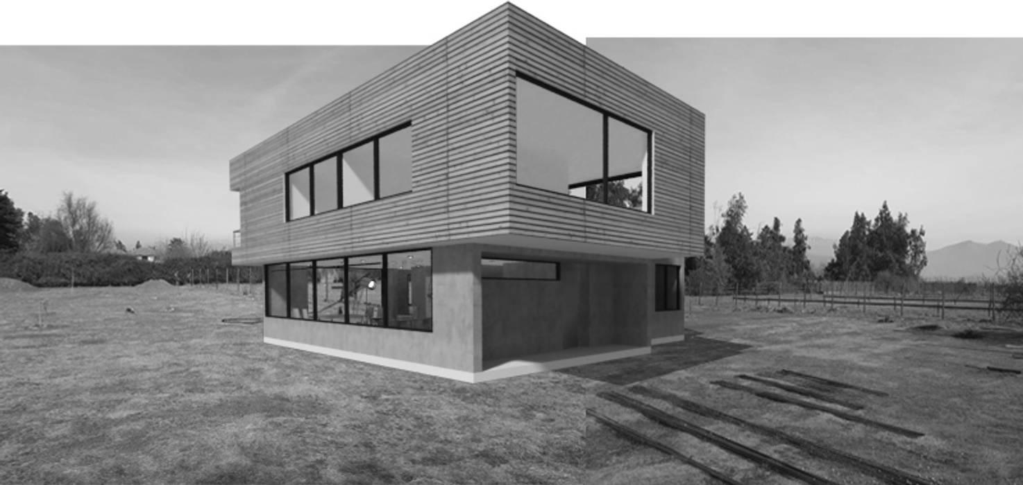 CASA HORMIGON-MADERA de Vetas Sur Moderno Concreto