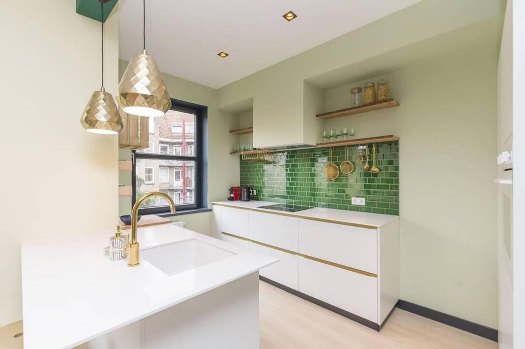 Obradov Studio Cucina piccola Piastrelle Verde