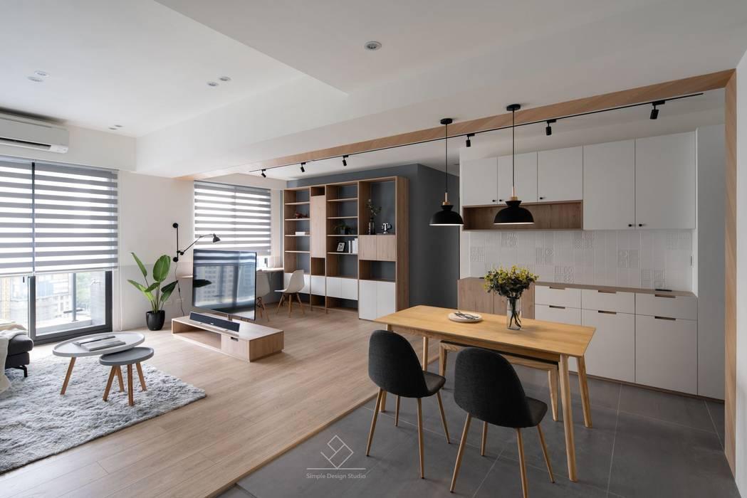 開放式用餐空間:  餐廳 by 極簡室內設計 Simple Design Studio, 北歐風