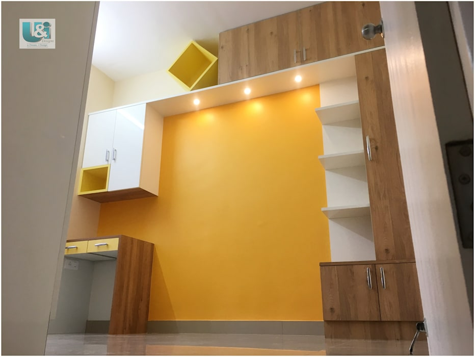Study storage along the bed U and I Designs BedroomBeds & headboards Yellow