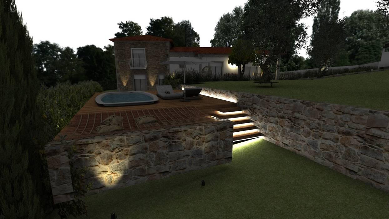 Vista traseira da piscina Piscinas campestres por Form Arquitetura e Design Campestre