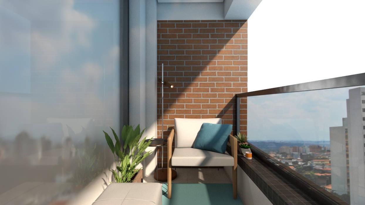 Balcón de estilo  por Mariana Geroldo Arquitetura, Industrial Ladrillos