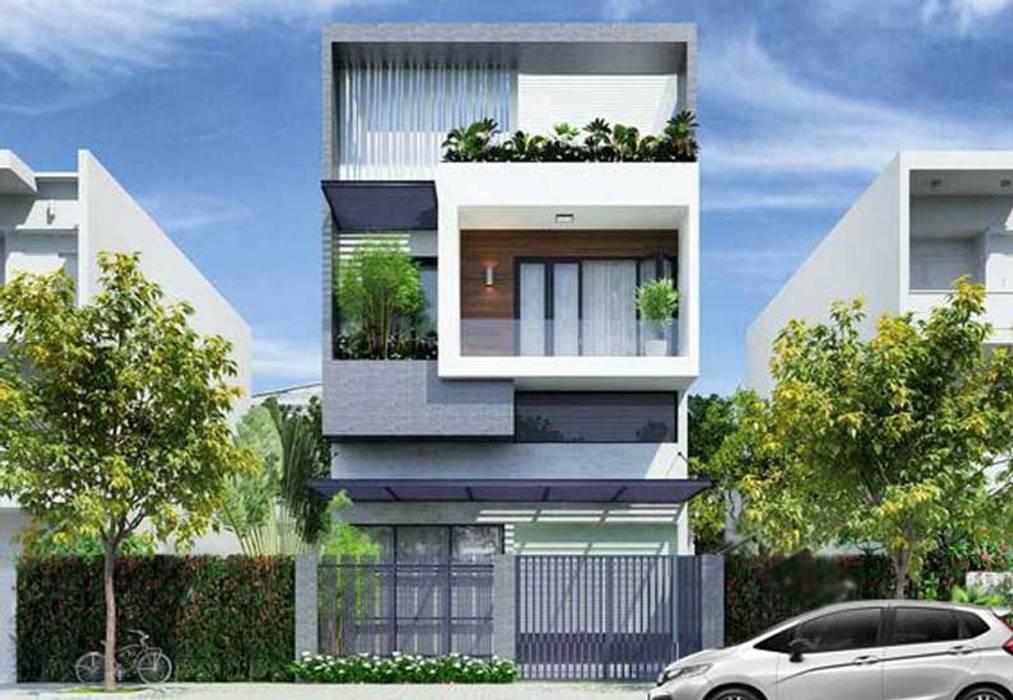 Toàn cảnh nhà phố:  Villas by Nguyen Hung Architects, Modern Concrete